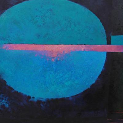 De Lank XIII - Indigo with Erythrite Horizontal, Oil on canvas, 80 x 100cms